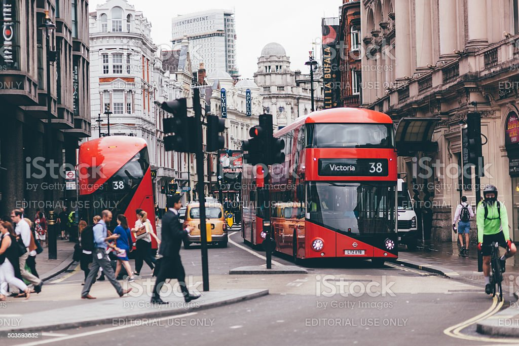 Busy street of London, UK stock photo