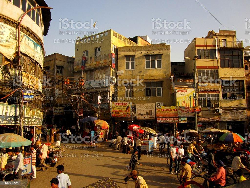 Busy Street Scene in Delhi, India stock photo