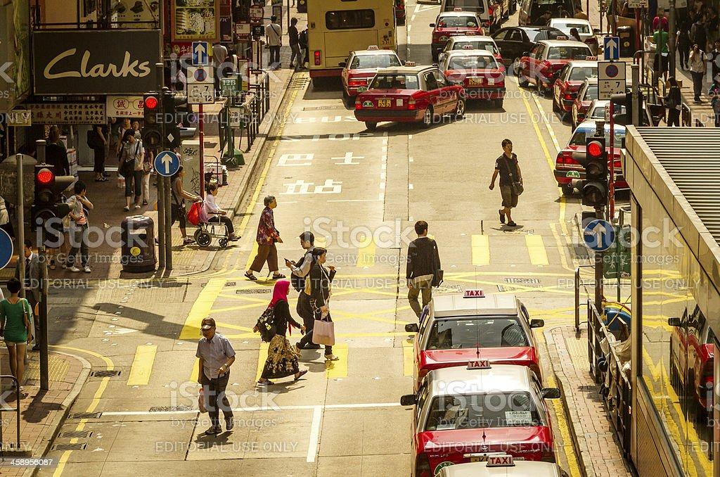 busy street scene in Hongkong royalty-free stock photo