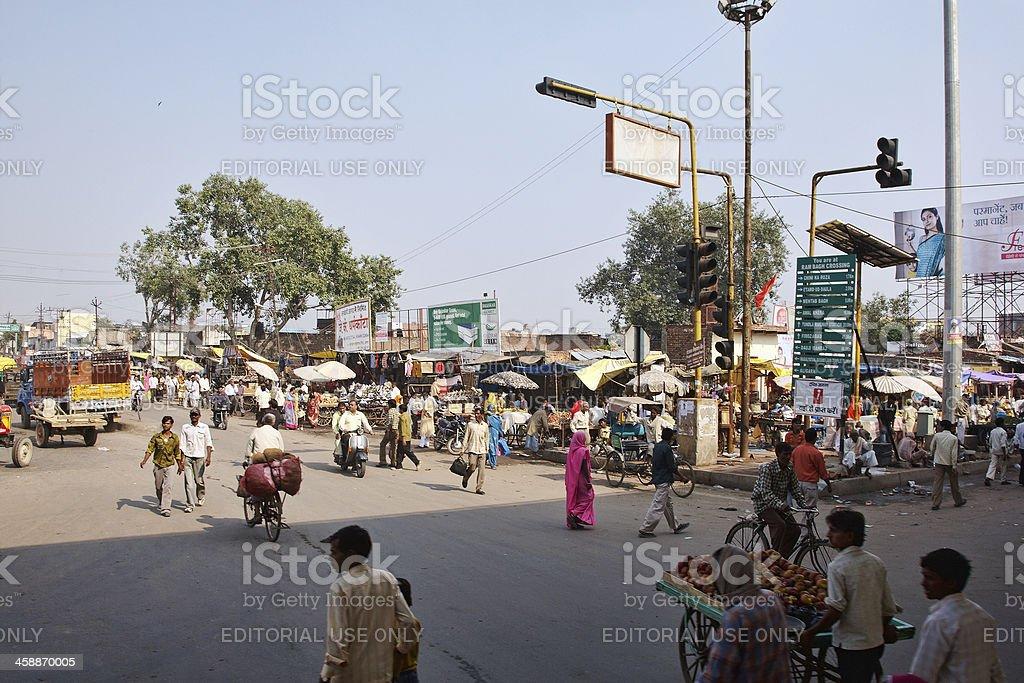 Busy street scene in Jaipur royalty-free stock photo
