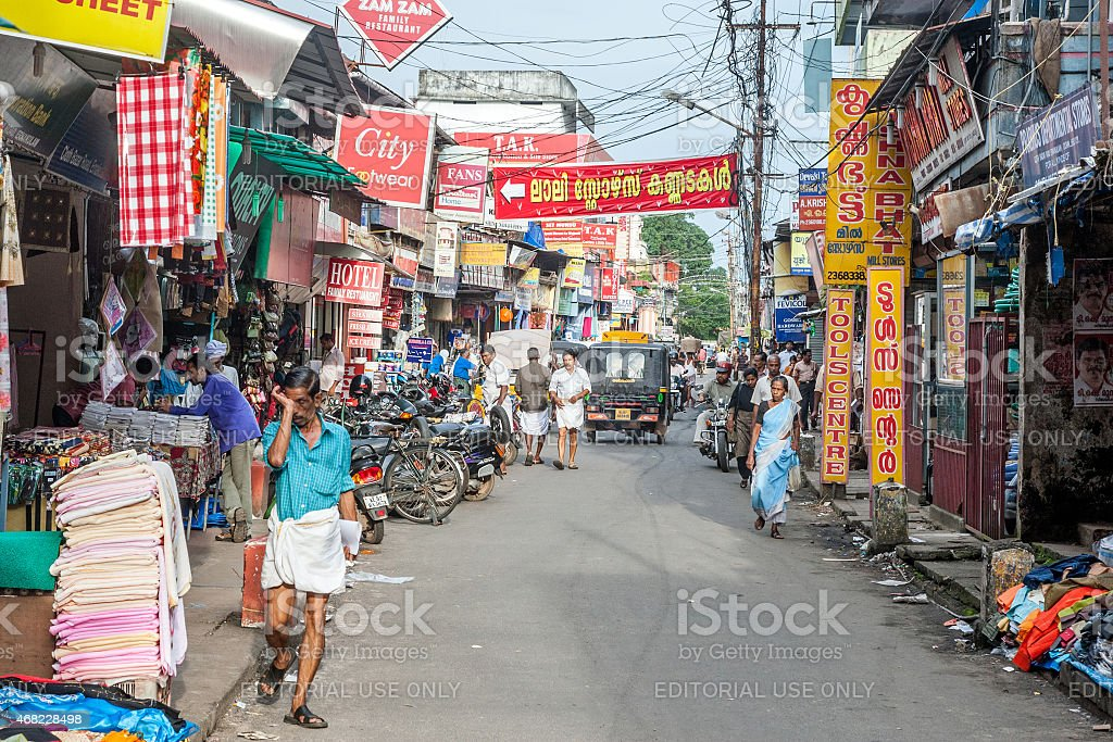 Busy street scene in Kochi stock photo