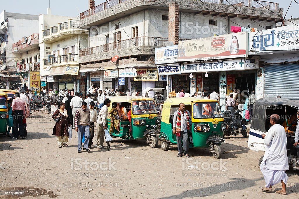 Busy street scene in Varanasi stock photo