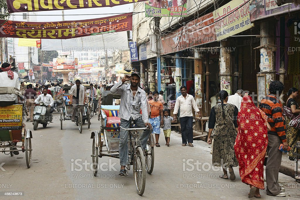 Busy street scene in Varanasi royalty-free stock photo