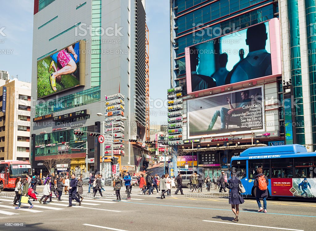 Busy Streets in Gangnam, Seoul stock photo