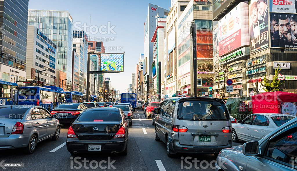 Busy Streets in Gangnam, Seoul royalty-free stock photo