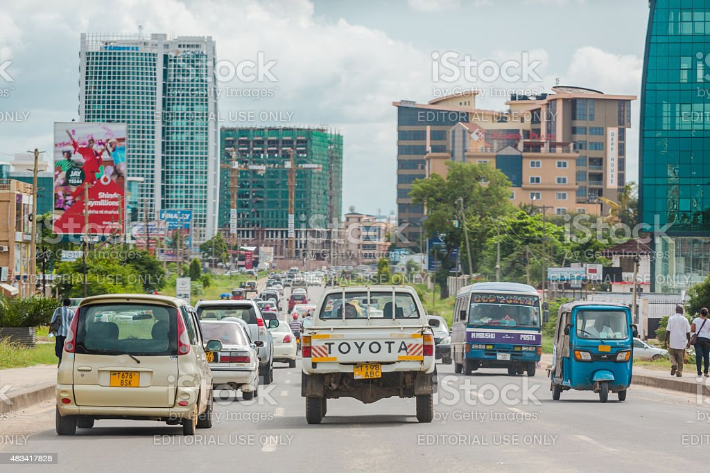 Busy streets of Downtown Dar Es Salaam stock photo