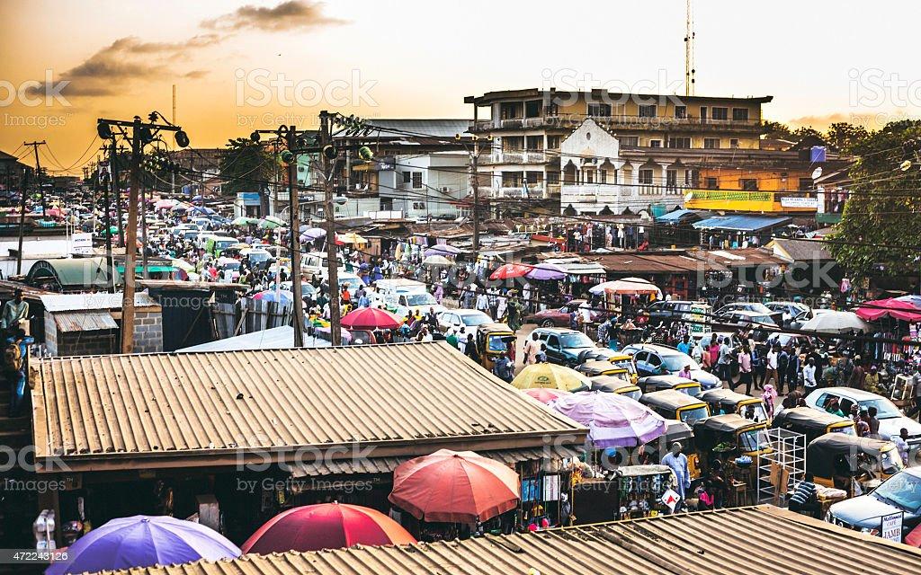 Busy streets of Lagos, Nigeria. stock photo
