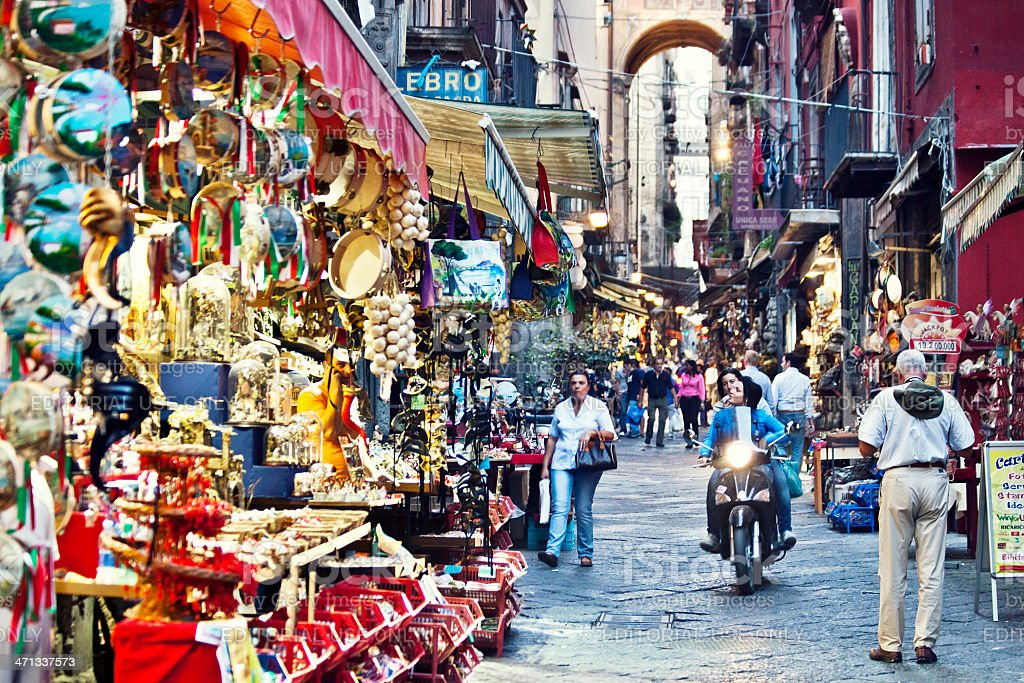 Busy streets of Naples. stock photo