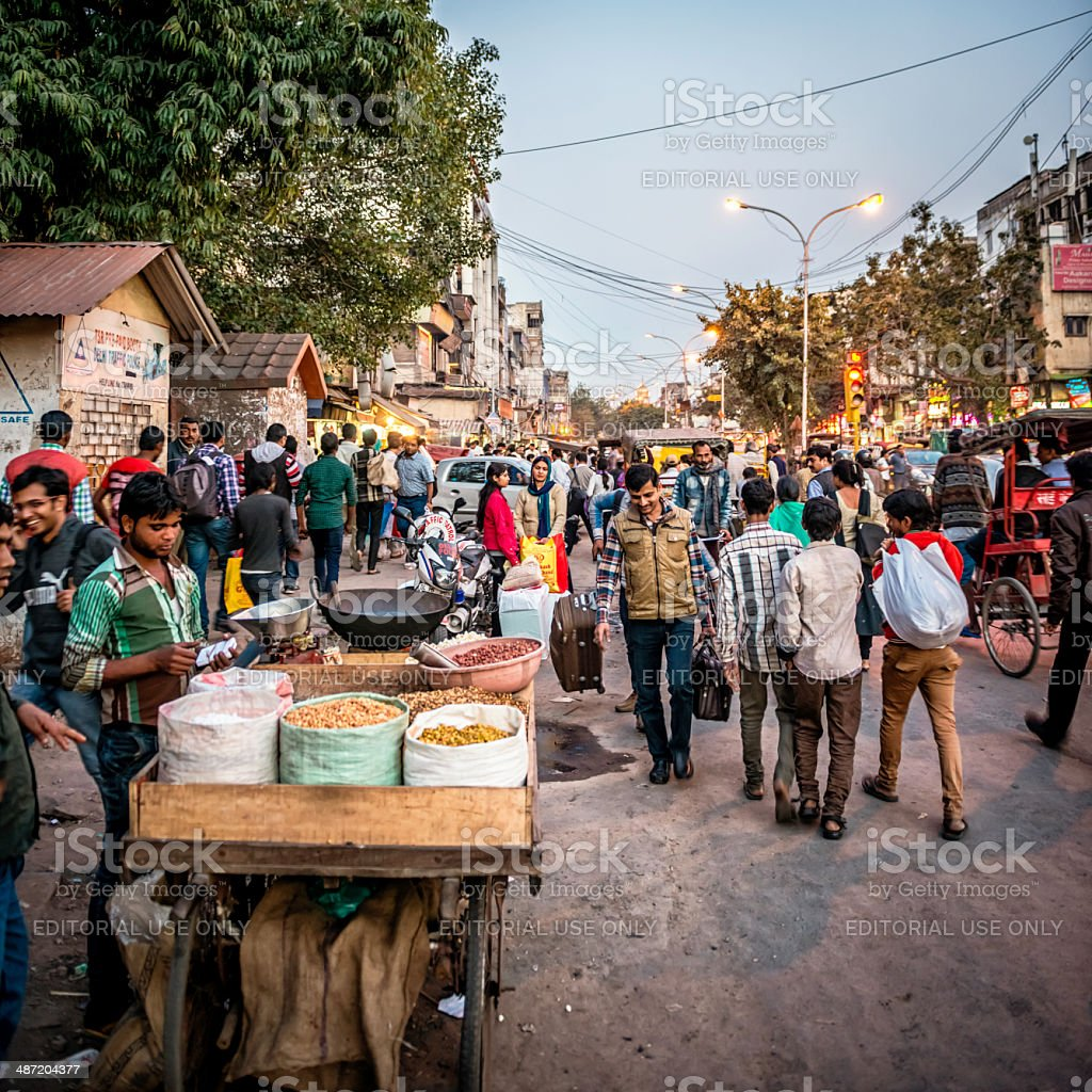 Busy streets of the Old Delhi spice market stock photo