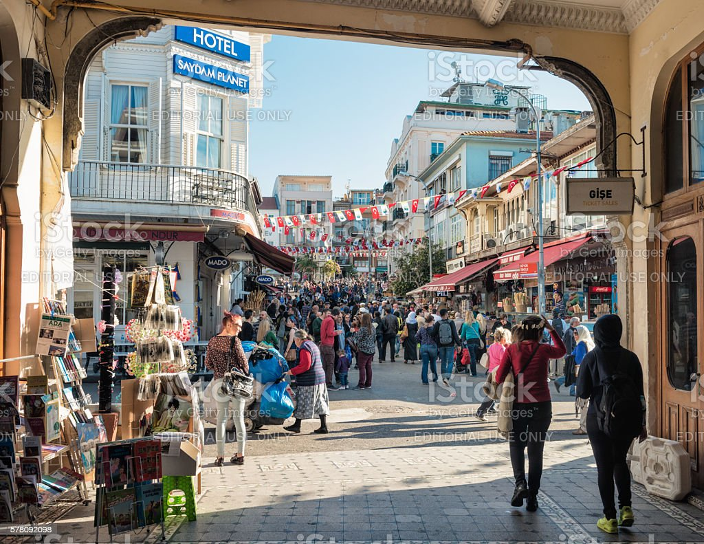 Busy streets on Buyukada Island in Istanbul Province, Turkey stock photo