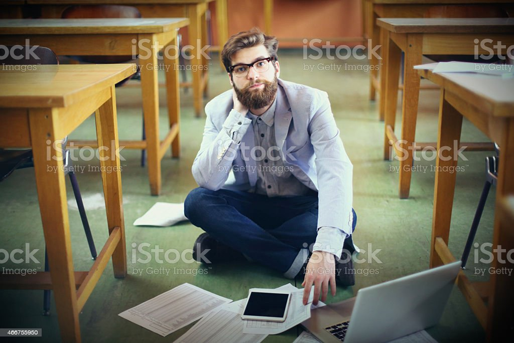 Busy student. stock photo