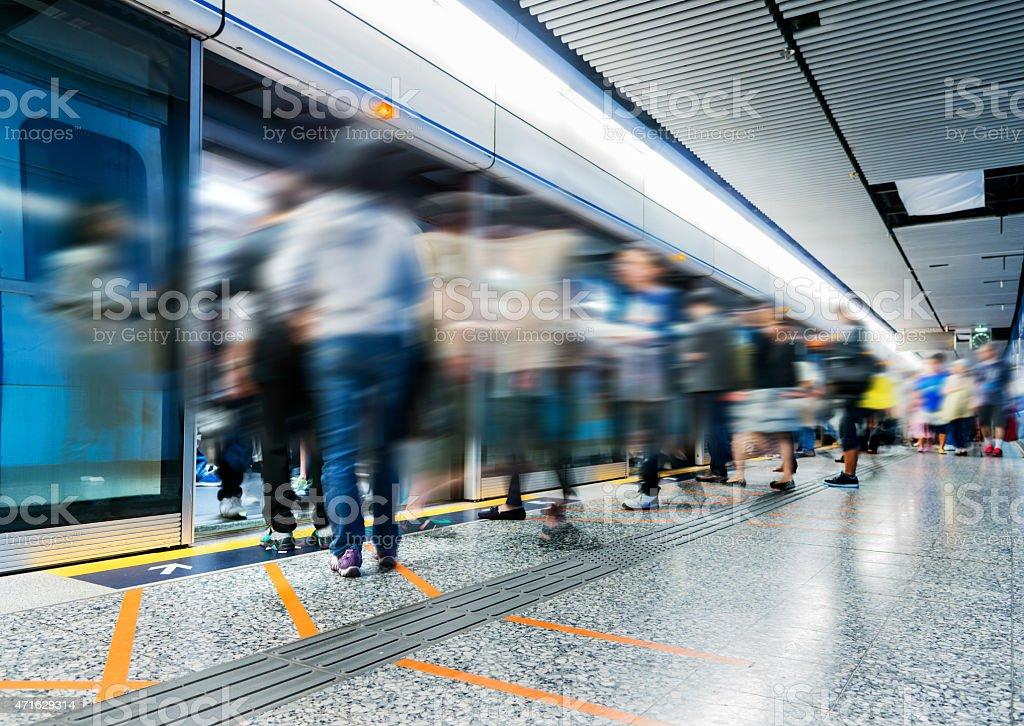 Busy subway station stock photo