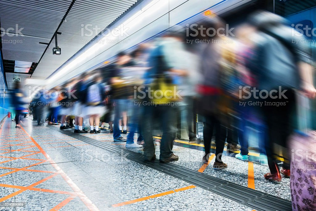 Busy subway station stock photo