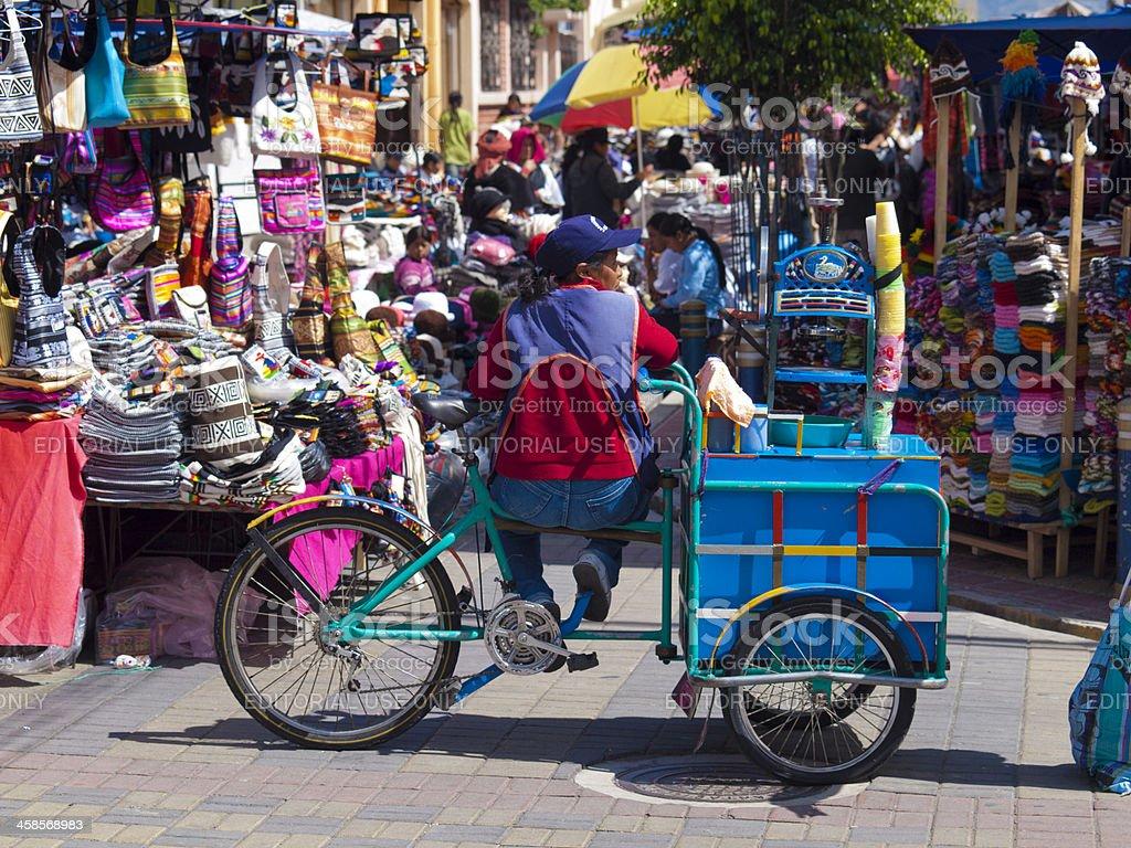 Busy traditional handicrafts market in Otavalo, Ecuador stock photo
