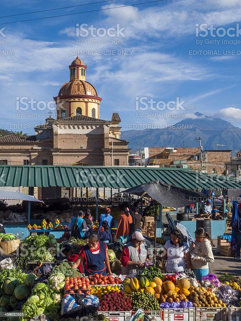 Busy traditional produce market in Otavalo, Ecuador stock photo