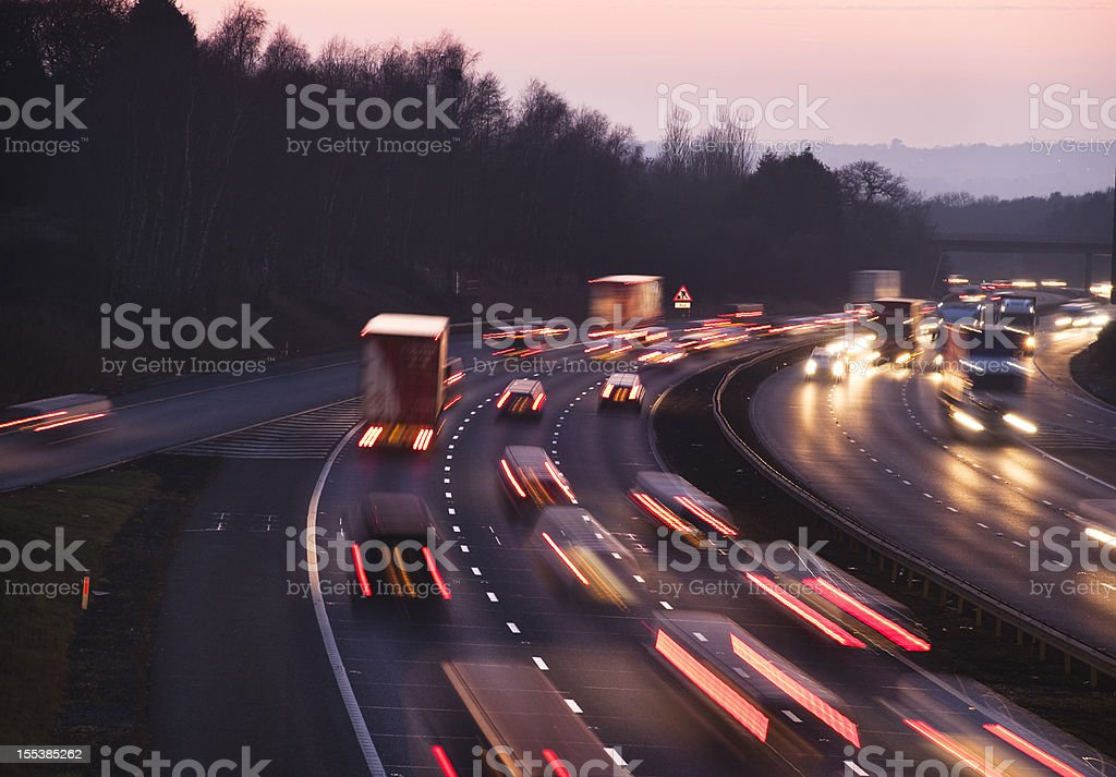 Busy traffic at dusk on the M42 Motorway near Birmingham stock photo