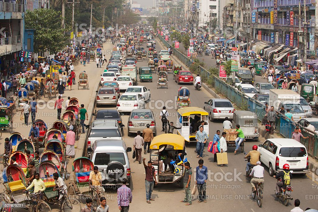 Busy traffic at the central part of the city, Dhaka, Bangladesh stock photo
