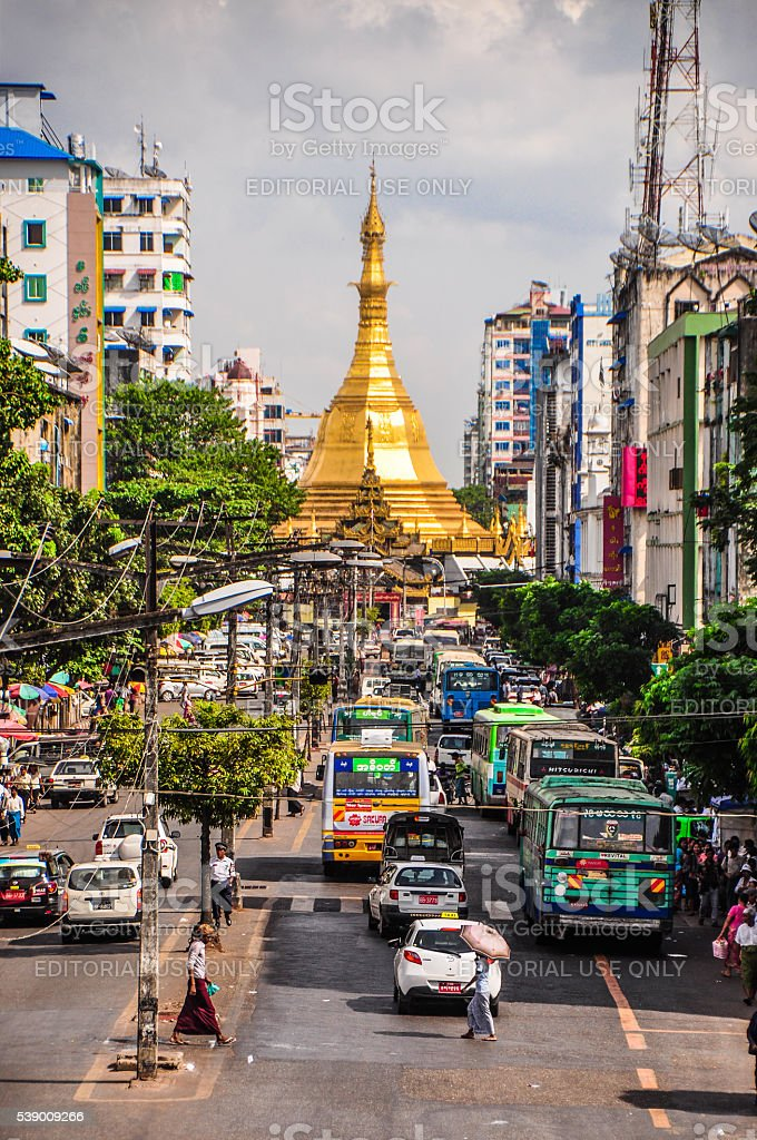 Busy traffic at Yangon downtown stock photo