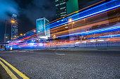 busy traffic in city at night,Hong Kong