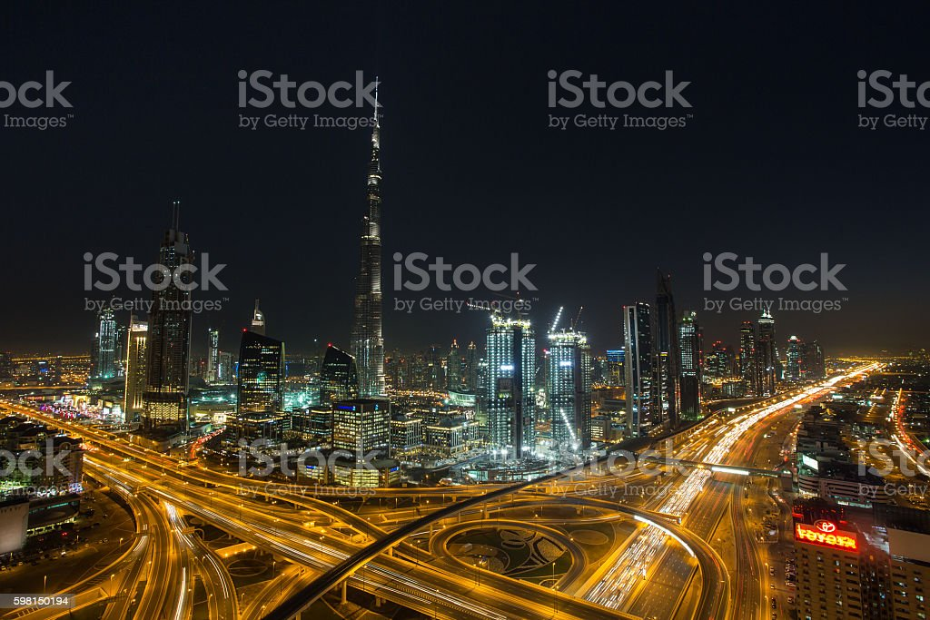 Busy Traffic in Dubai stock photo