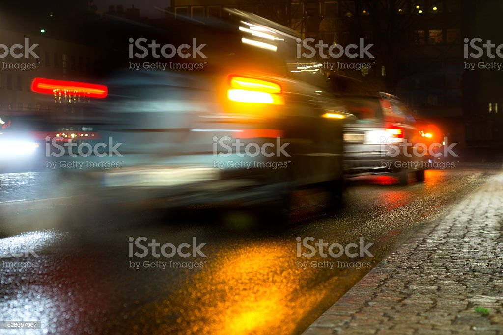 Busy traffic in evening stock photo