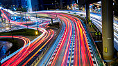 Busy traffic light trails in Tokyo
