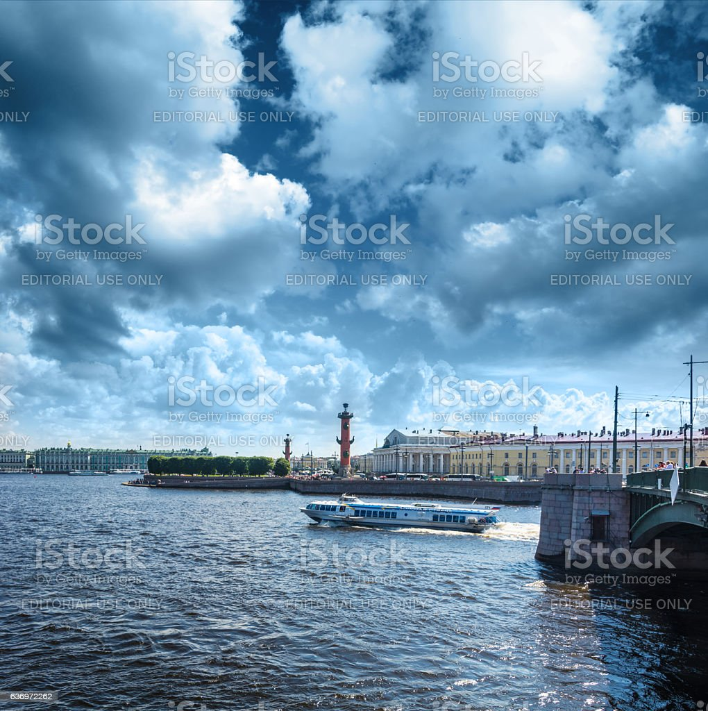 Busy traffic of boats on the Neva against the background stock photo