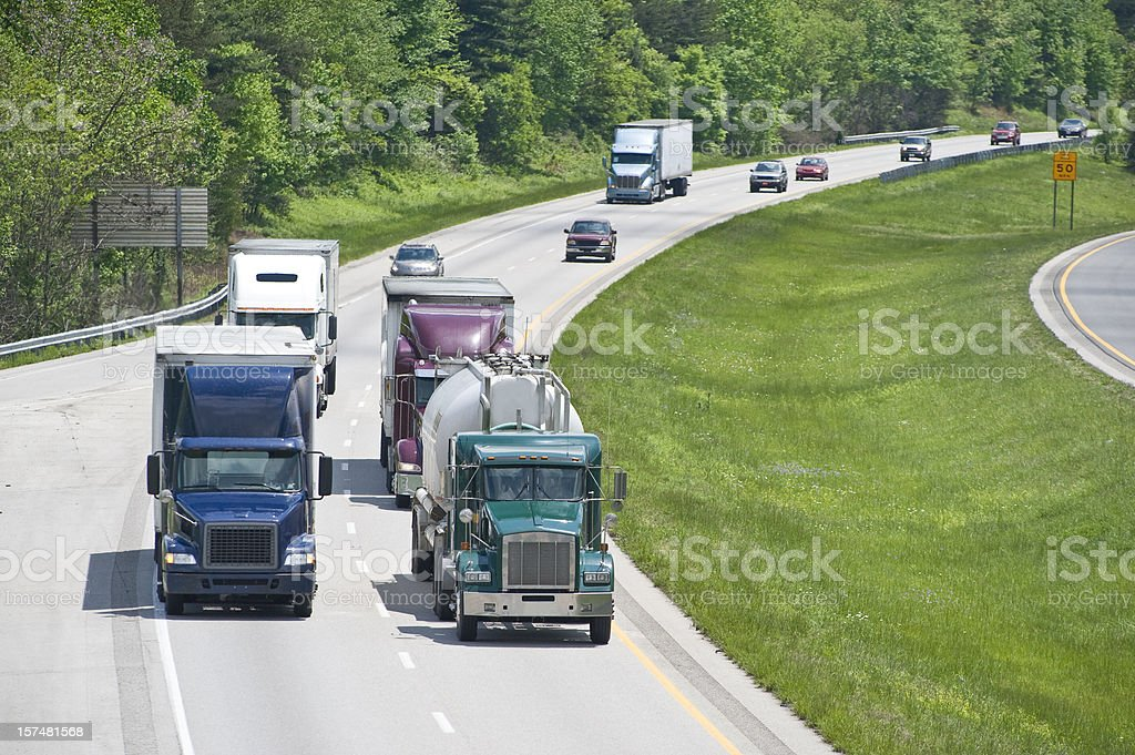 Busy Traffic On An Interstate Highway royalty-free stock photo