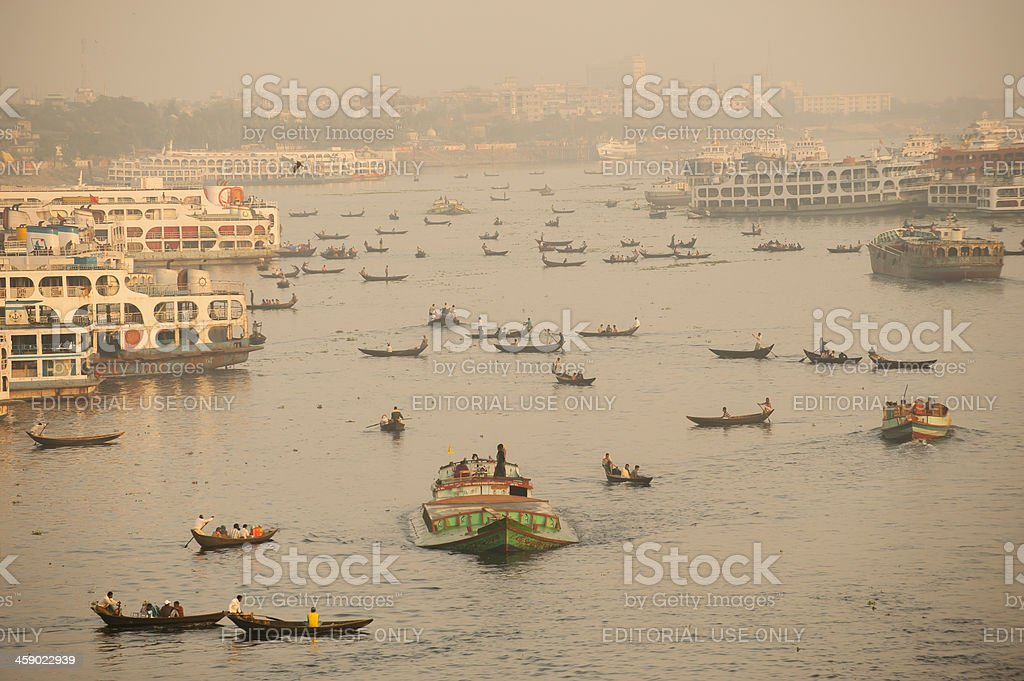 Busy traffic on Buriganga River, Dhaka, Bangladesh stock photo