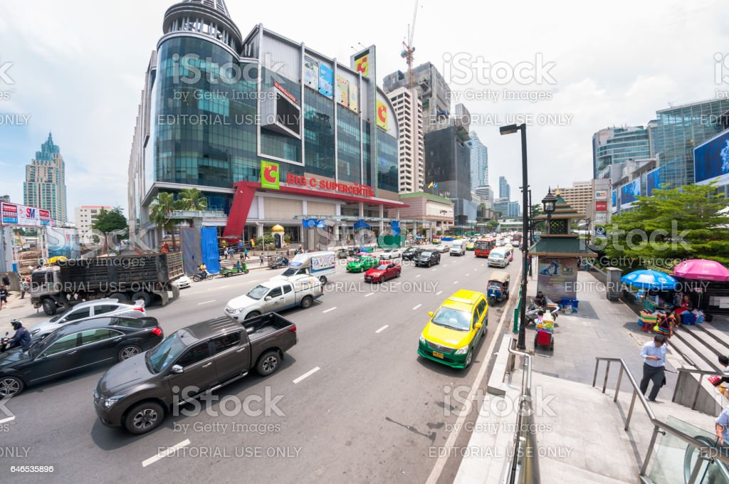 Busy Traffic On Ratchaprasong Road In Bangkok, Thailand stock photo