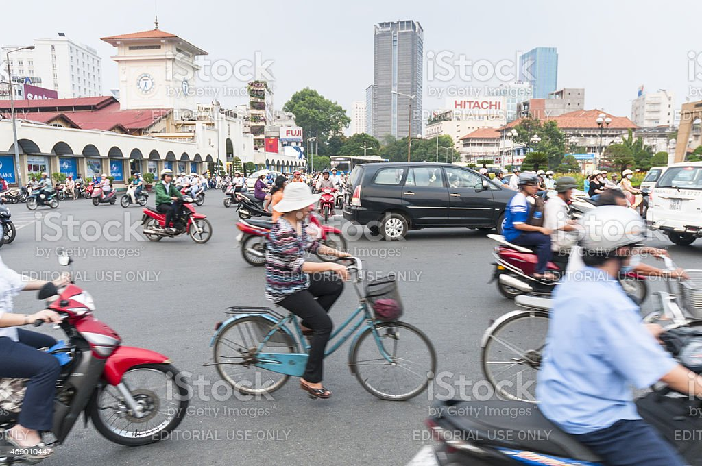 Busy Traffic Outside Ben Thanh Market, Ho Chi Minh City royalty-free stock photo