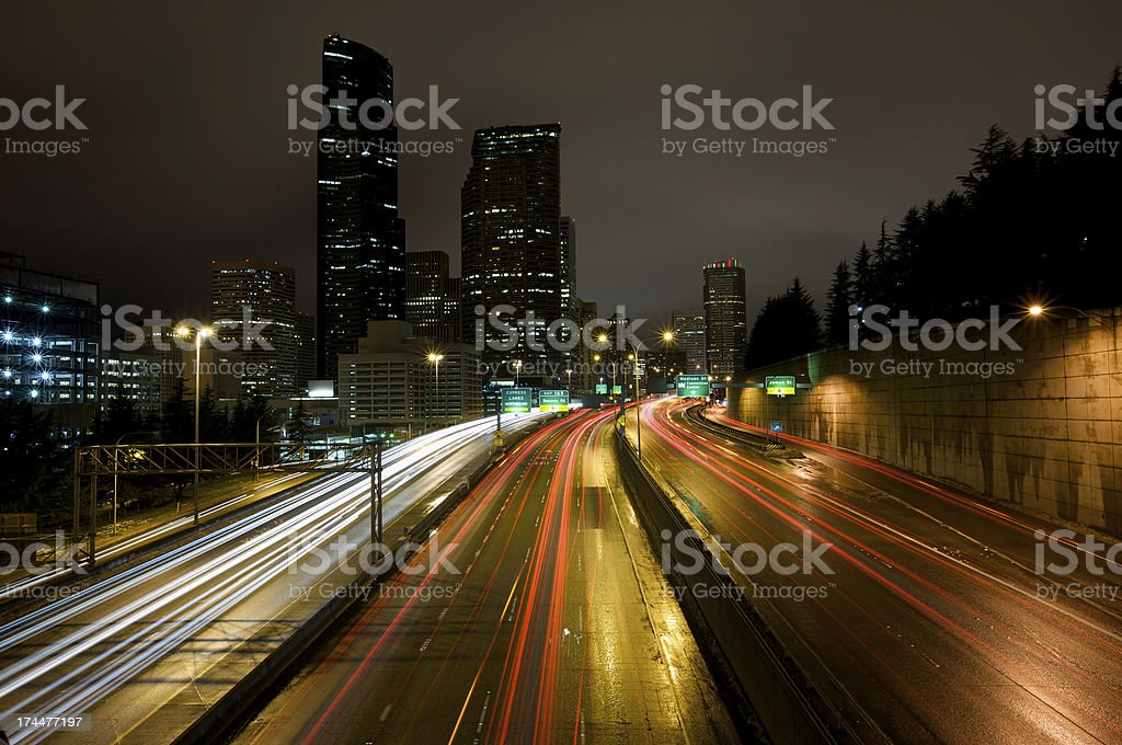Busy traffic through Seattle downtown royalty-free stock photo