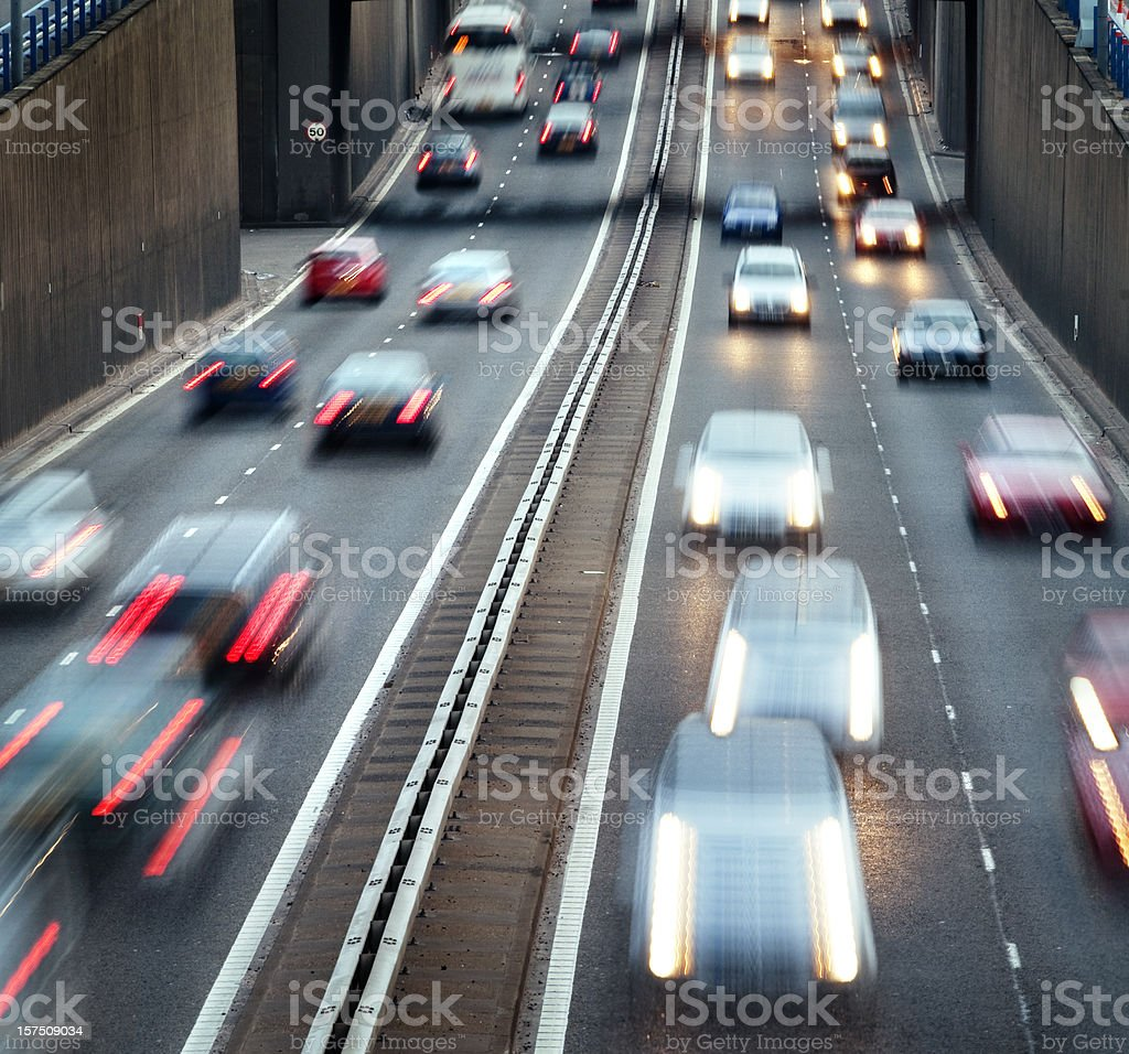 Busy urban motorway with rush hour traffic royalty-free stock photo