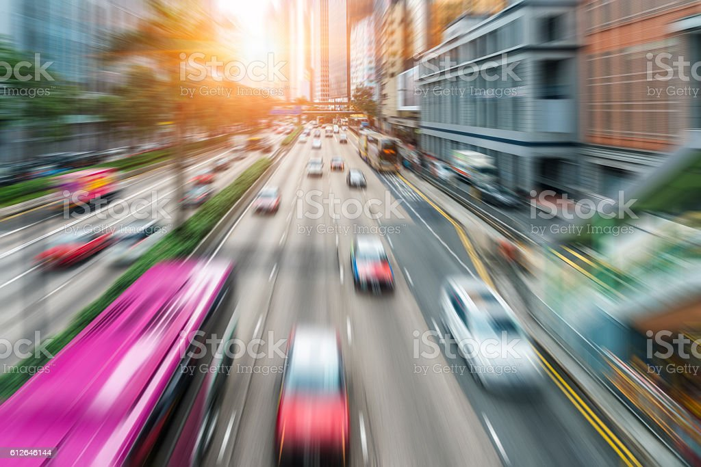 busy urban traffic of hong kong downtown district stock photo