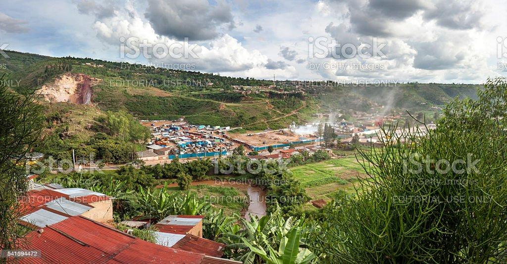Busy valley in Kigali, rwanda stock photo