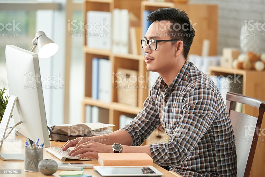 Busy with work stock photo