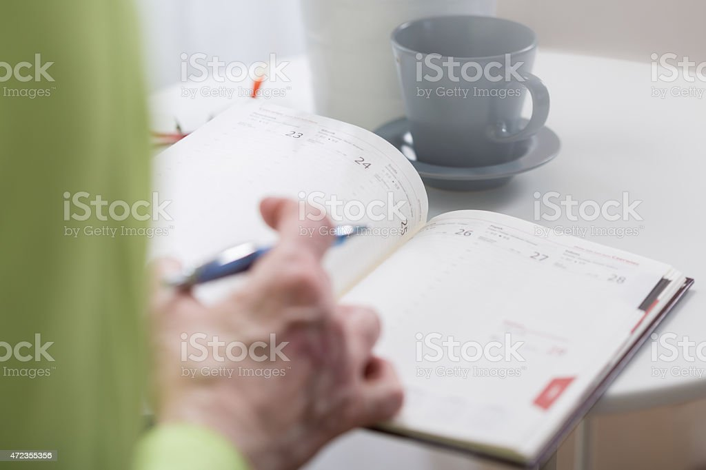 Busy woman holding weekly organiser stock photo