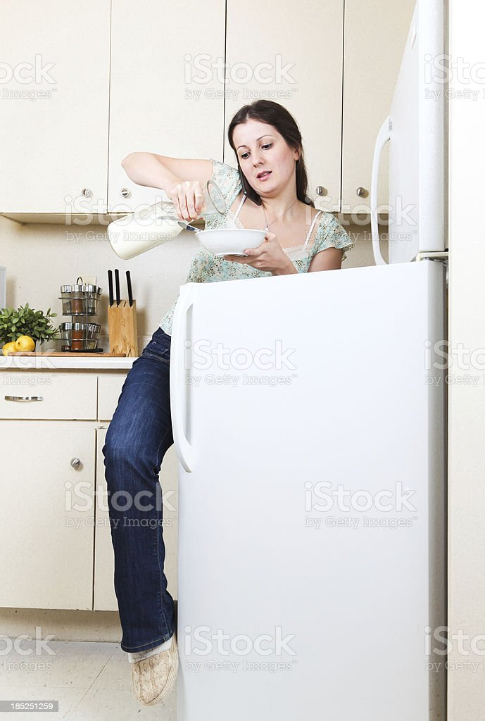 Busy woman quick breakfast stock photo