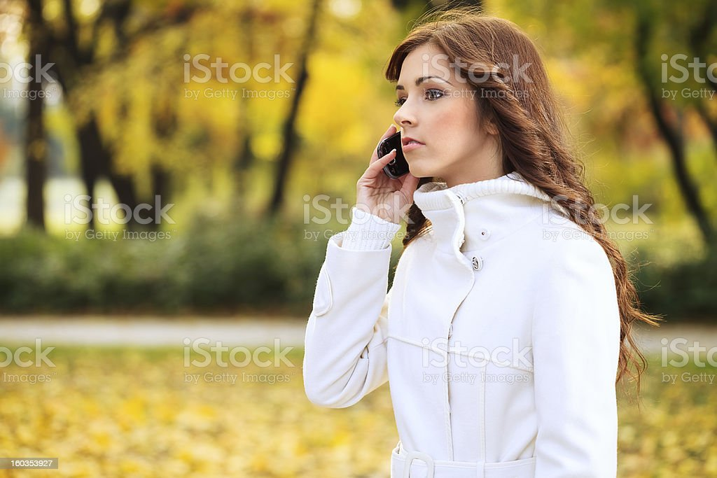Busy women in autumn royalty-free stock photo