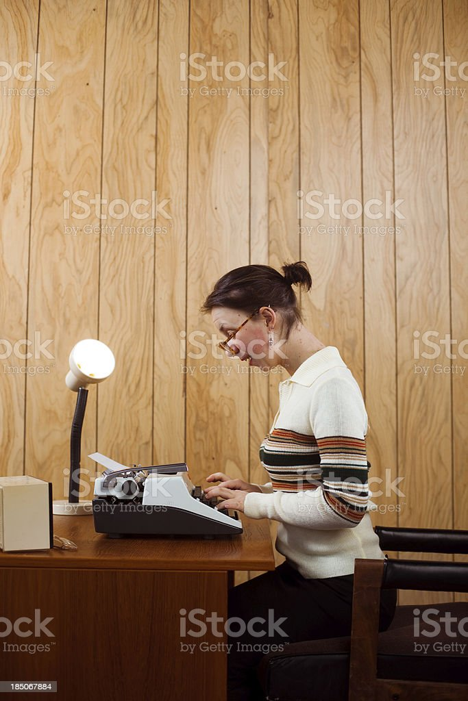 Busy Working 1970s Receptionist royalty-free stock photo