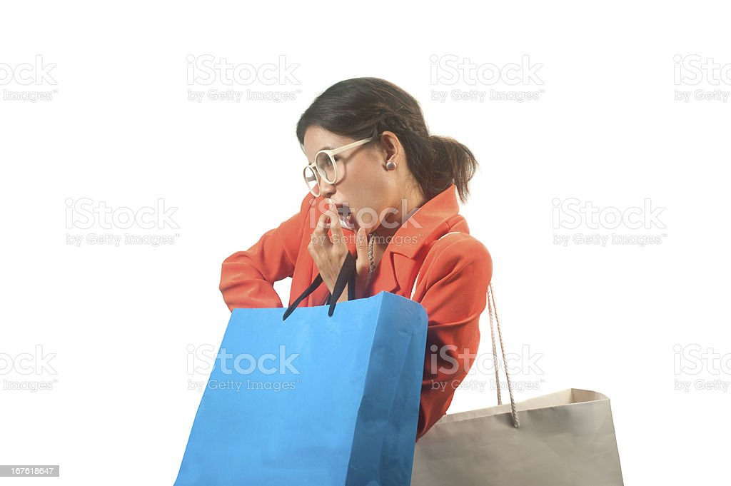 Busy young Asian business woman with shopping bags isolated background . royalty-free stock photo