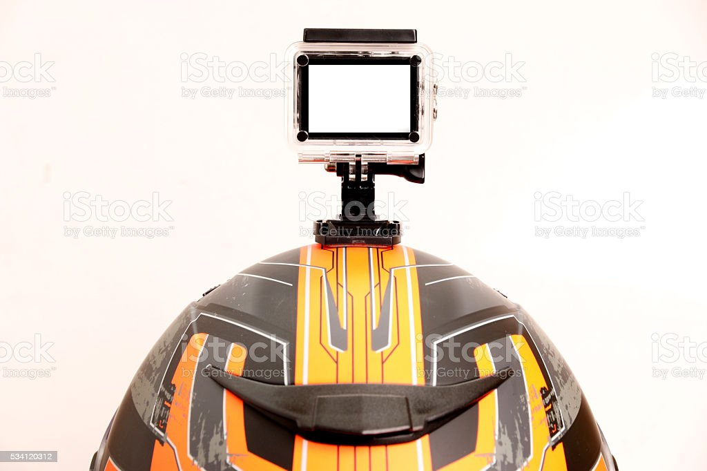 But the Action Cam camera on the helmet. stock photo