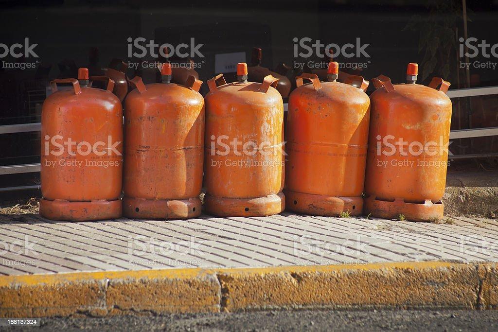 Butane gas cylinders royalty-free stock photo