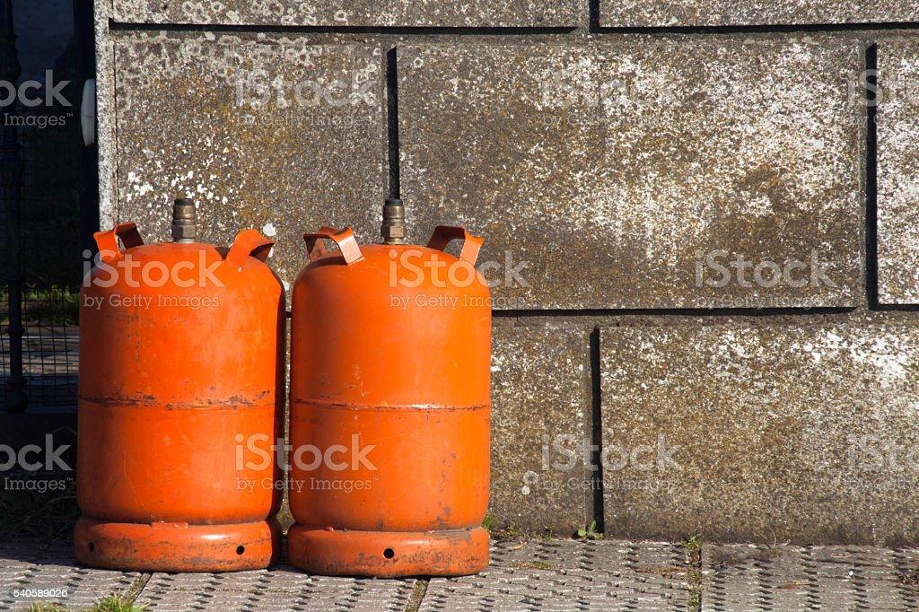 Butane gas cylinders stock photo