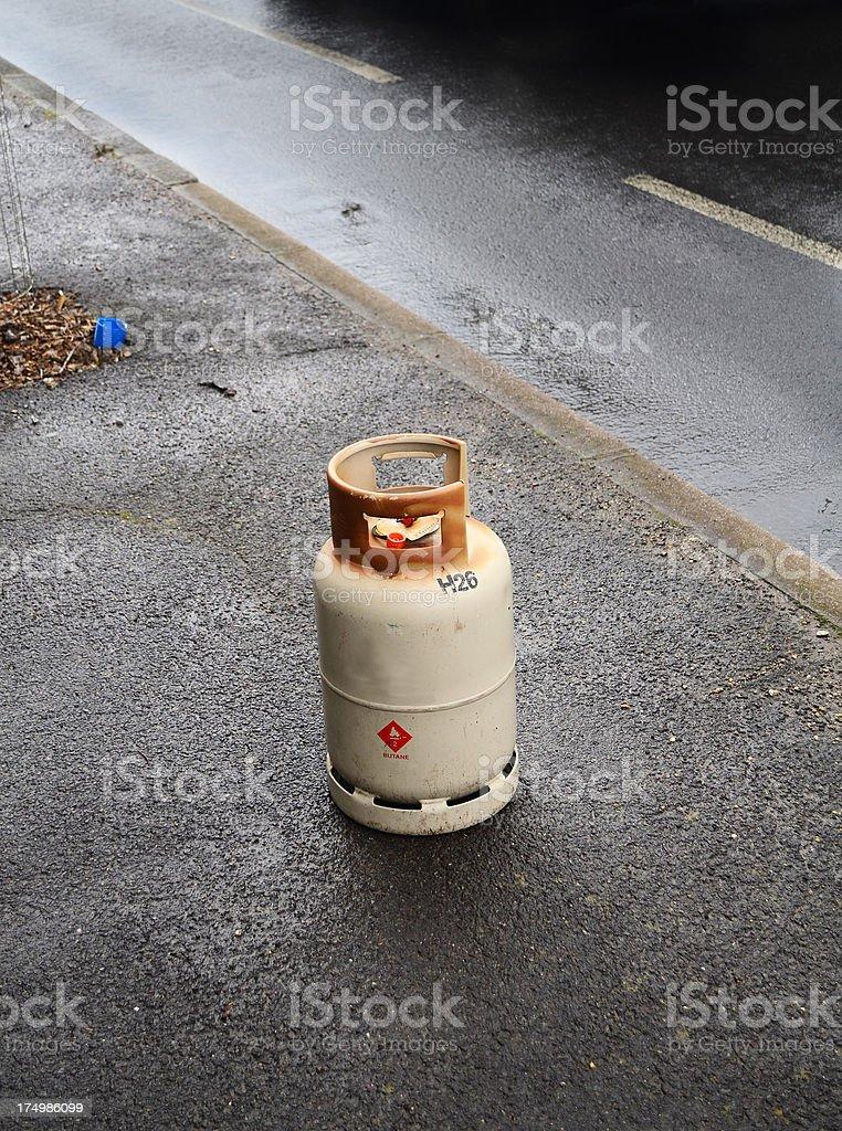 butane gas tank at roadside royalty-free stock photo