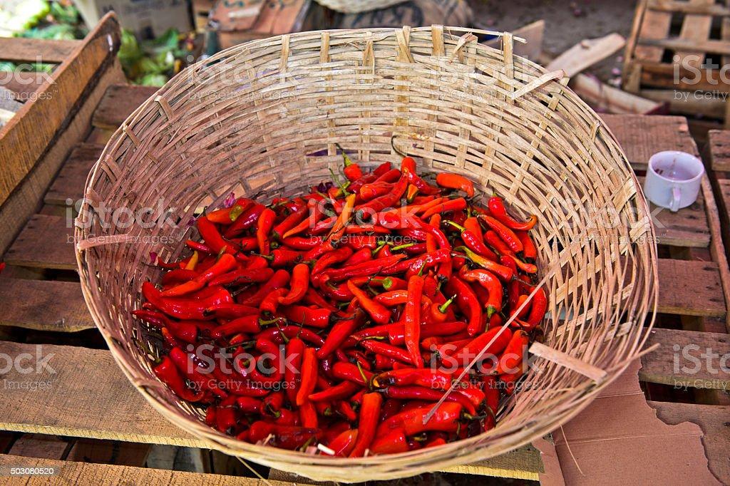 Butanese hot chili peppers stock photo