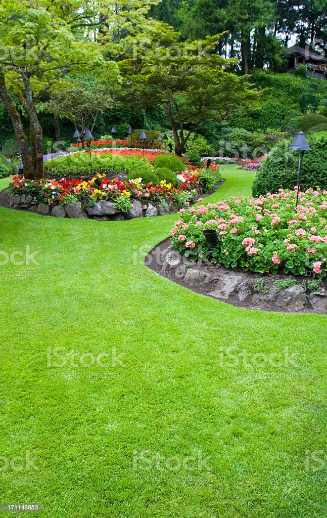 Butchart Colourful Flower Beds royalty-free stock photo