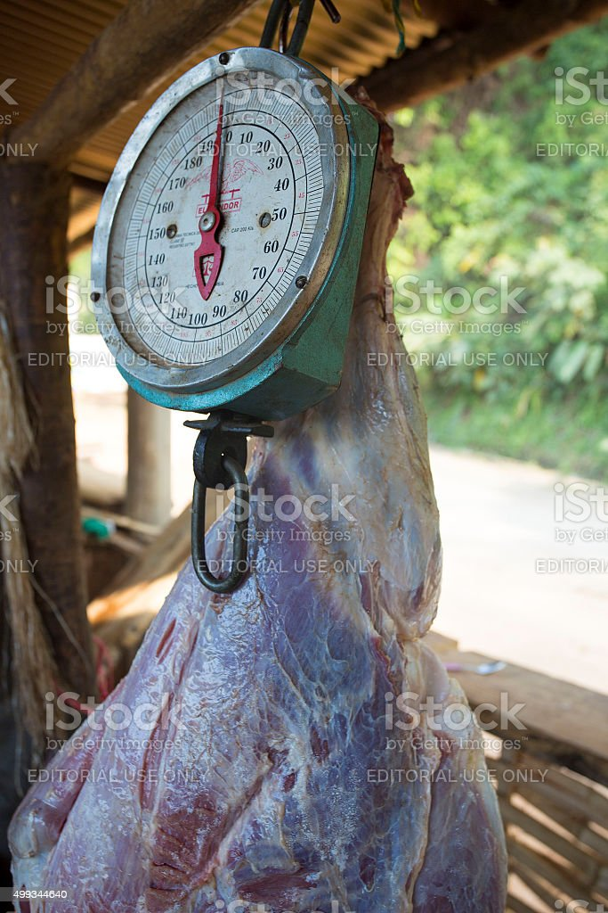 Butcher and raw meat in Minca, Colombia stock photo
