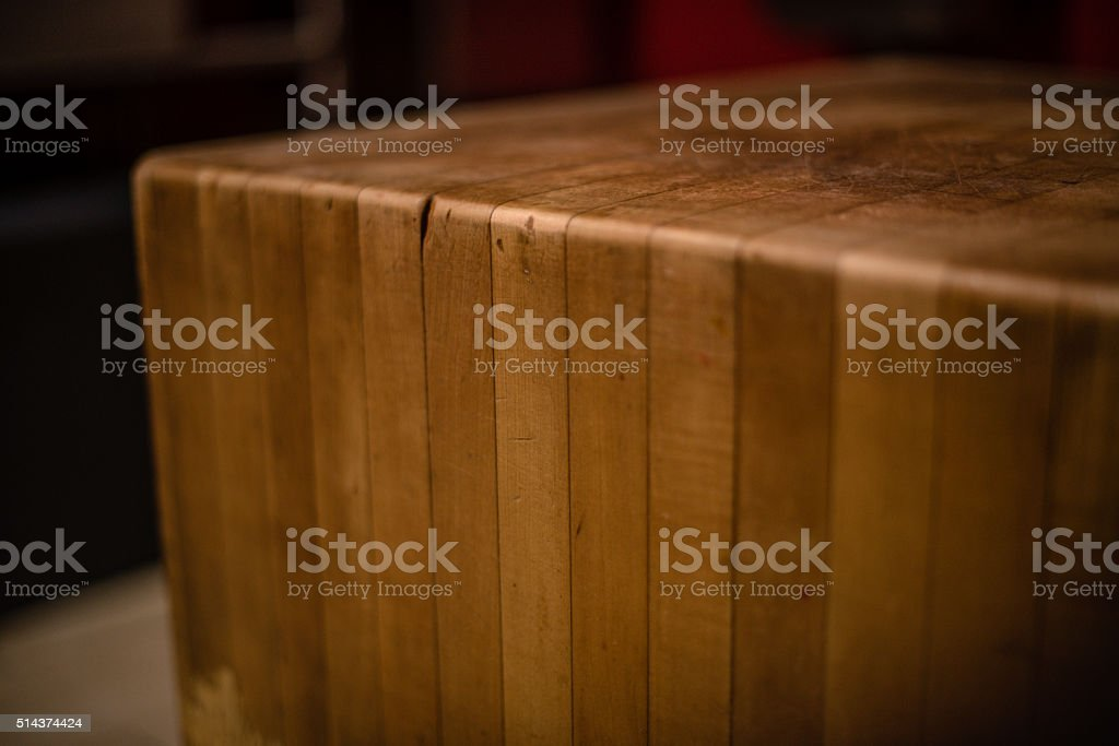 Butcher Block Table stock photo
