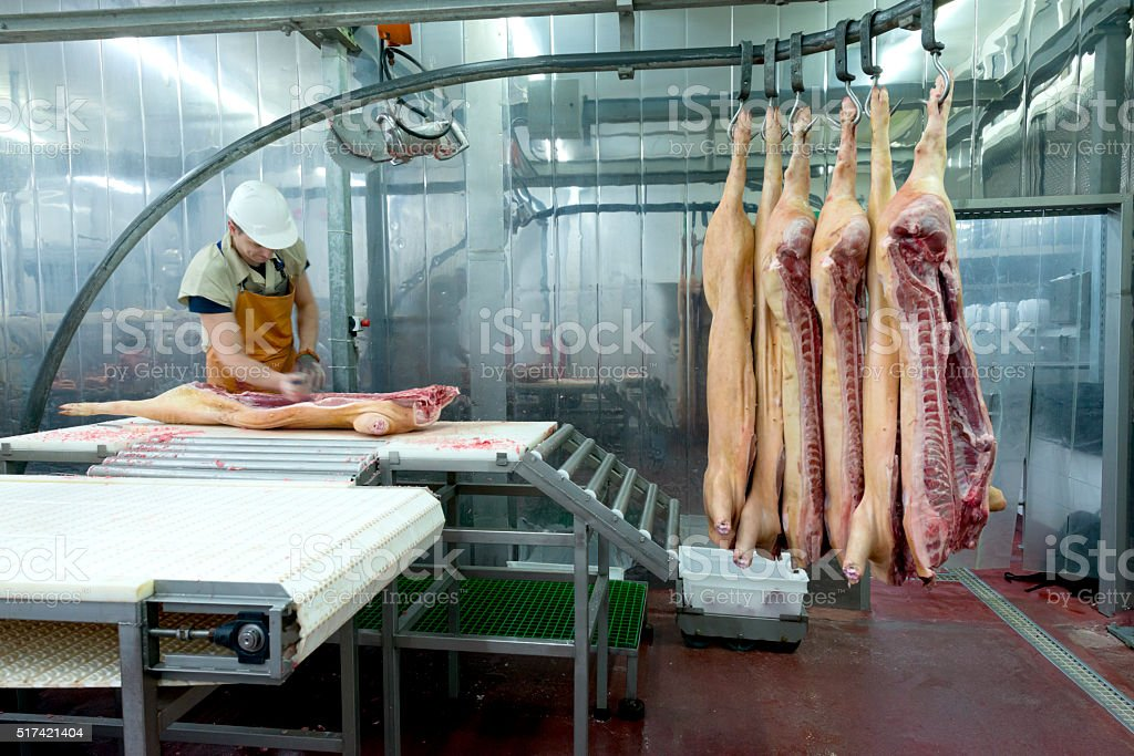 Butcher cutting meat on the Food Processing Plant stock photo